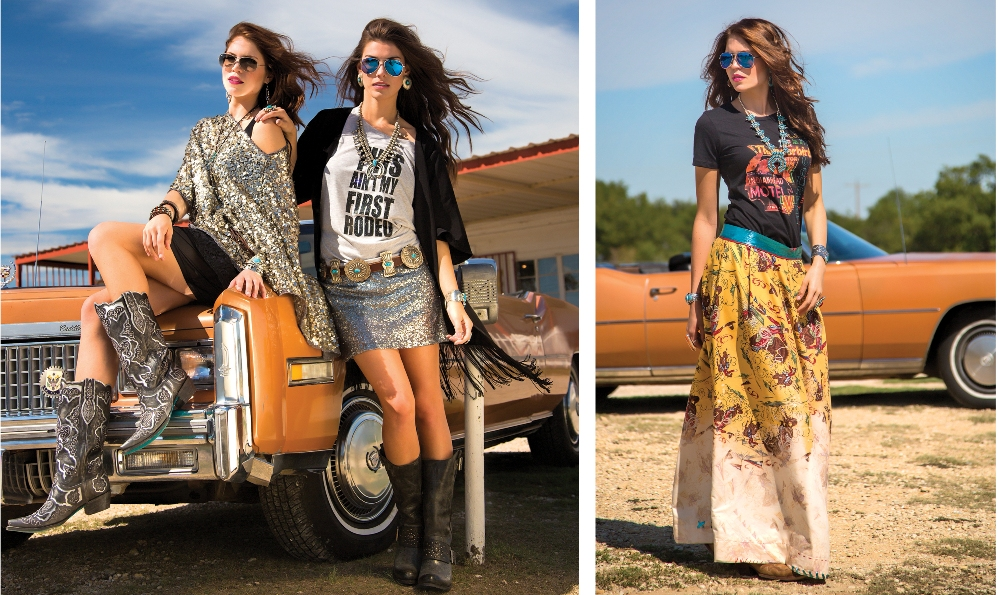 Photo left LEFT: Cowgirl Tuff graphic tank top under a Tosha Polizzi poncho; Cowgirl Justice mini skirt; West & Co. earrings and necklace; Gypsy Junkies layered necklaces; Patrica Wolf Leather wrap bracelet (right hand); Montana Silversmith bracelet (left hand); Western Vintage Revival cuff (left hand); and Lane Boots.  RIGHT: Cowgirl Justice t-shirt, skirt and kimono; Silver Creations of the Southwest concho belt, squash blossom necklace, earrings and bracelet; Rhed Lucy ring, and Lane Boots  Photo right:  Gypsy Soule T-shirt; Livewire Clothing Co. skirt; Rhed Lucy ring (left hand); Bilagaanas ring (right hand) and cuff bracelets; Chelsea Collette Collection squash blossom necklace and earrings; and Corral boots.