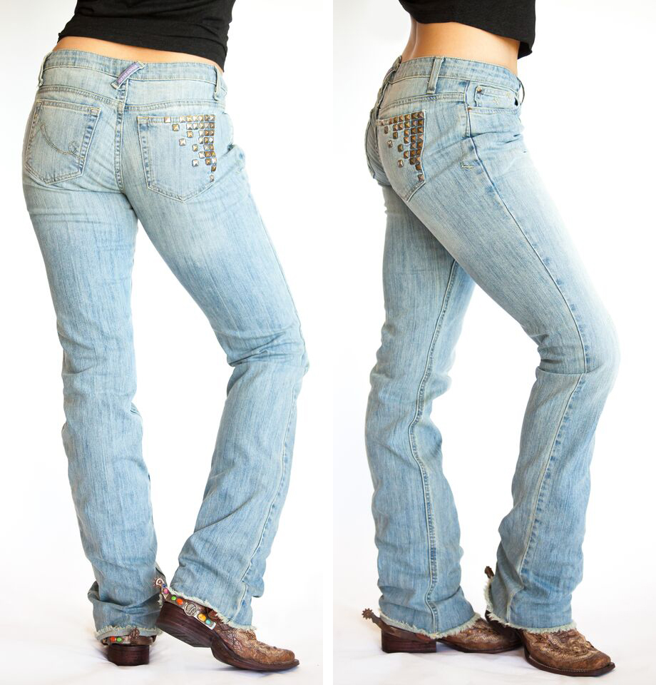 """Gypsy Soule """"Essential Fit"""" in The Stud - Vanity sizing – you may need to go down a size or two. - Mid Rise - Straight leg – a little more room in knee area than slim jeans - Boot Cut – flares out from knee with an 18"""" bottom opening  - More room in thigh area than traditional Mid-Rise jeans - Button Fly"""
