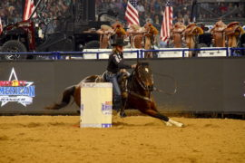 Mary Walker barrel racing at The American