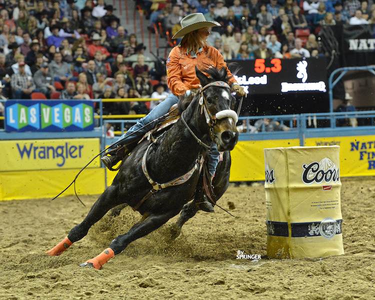 Michele McLeod riding Kellies Chick at the NFR