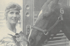 Tracy Abady standing next to horse Fletch