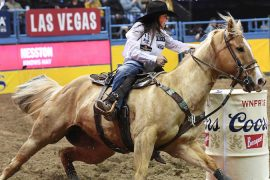 Hailey Kinsel rounding the barrle in Round 9 of the NFR