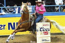 Ivy Conrado turning the barrel on JLo at the WNFR