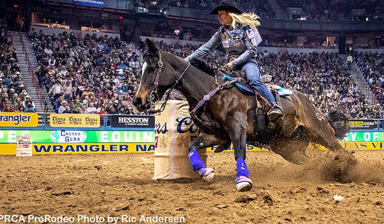 Amberleigh Moore turning the barrel at NFR
