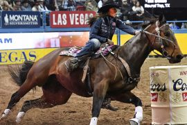 Taci Bettis turning a barrel on Smash at the WNFR
