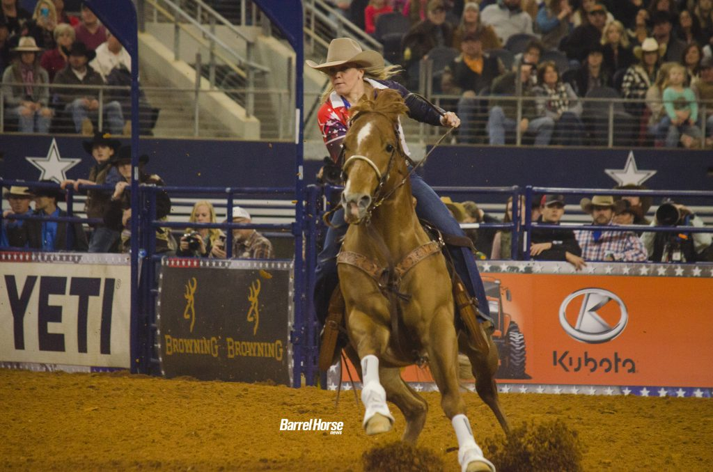 Kylie Weast and Heavenly Firewater run to the first barrel