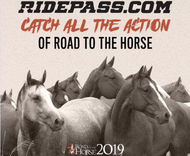 RidePass advertisement with horses standing