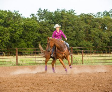 Ivy Hurst demonstrating the one-rein stop drill