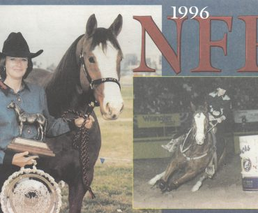 Kristie Peterson with horse Bozo on the cover of Barrel Horse News