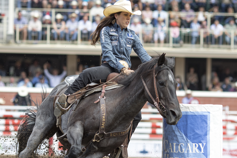 Nellie Miller turning the barrel at Calgary
