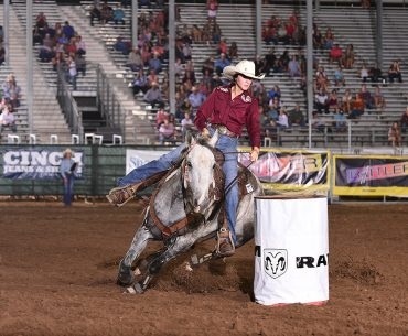 Raegan Davis competed in barrel racing and pole bending at the IFYR. Photo courtesy IFYR/RodeoBum.com