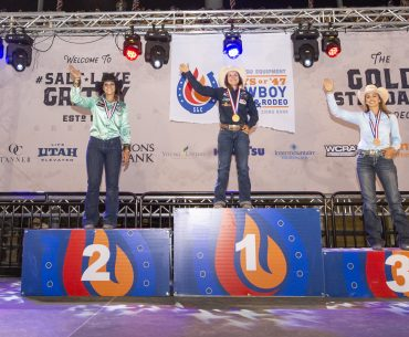2019 Days Of '47 barrel racing medalists standing on the podium