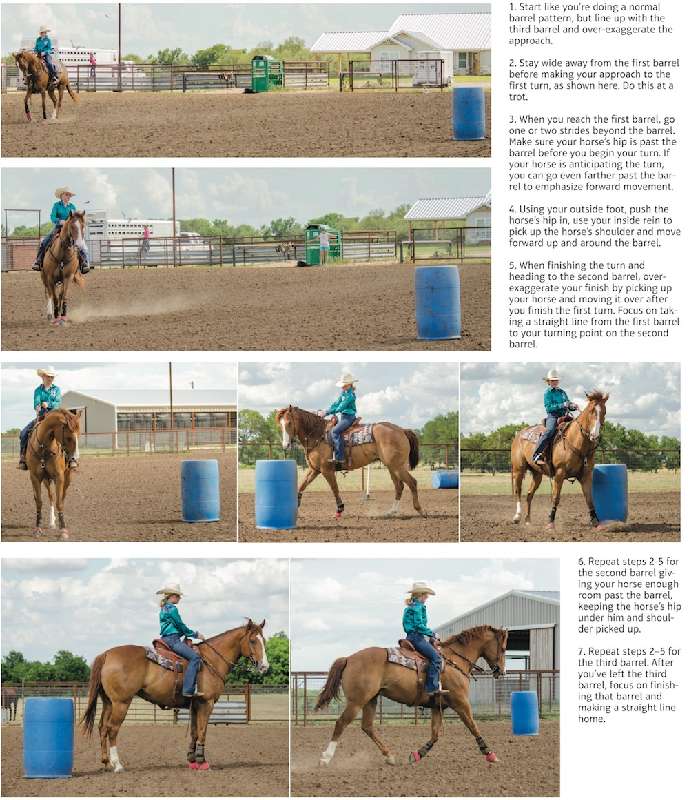 Patton Ann Lynch demonstrating a drill to stop a horse from anticipating the turn
