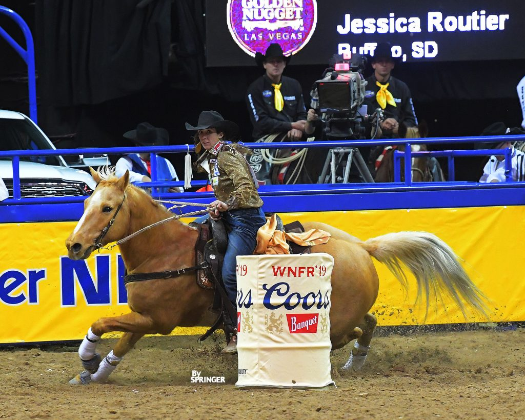 Jessica Routier turns the third barrel at the NFR