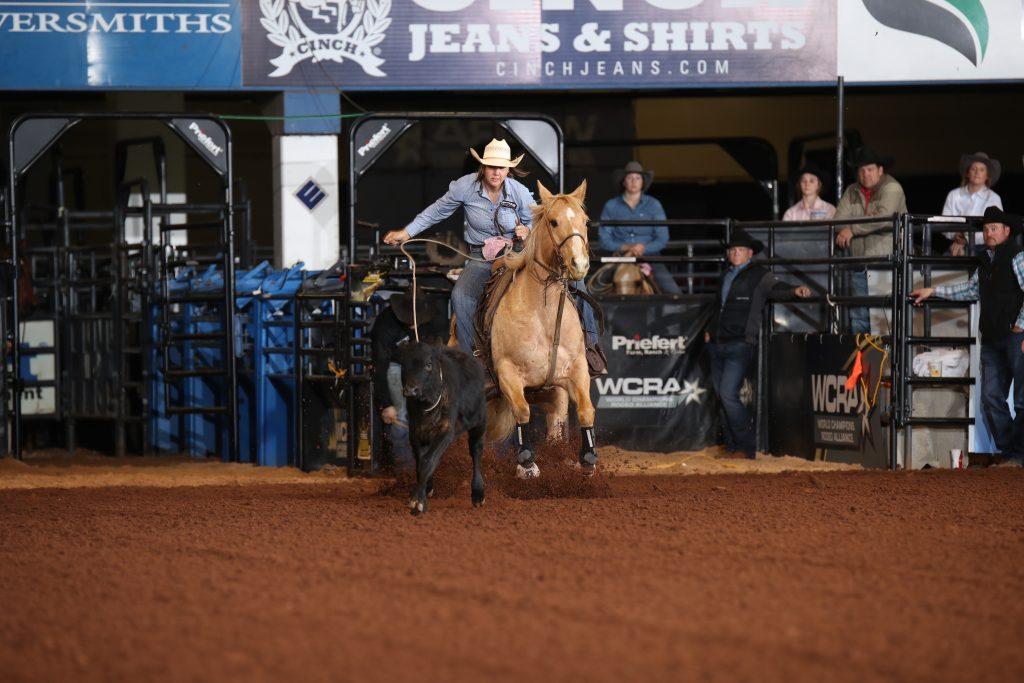 Sloan Anderson ropes a calf