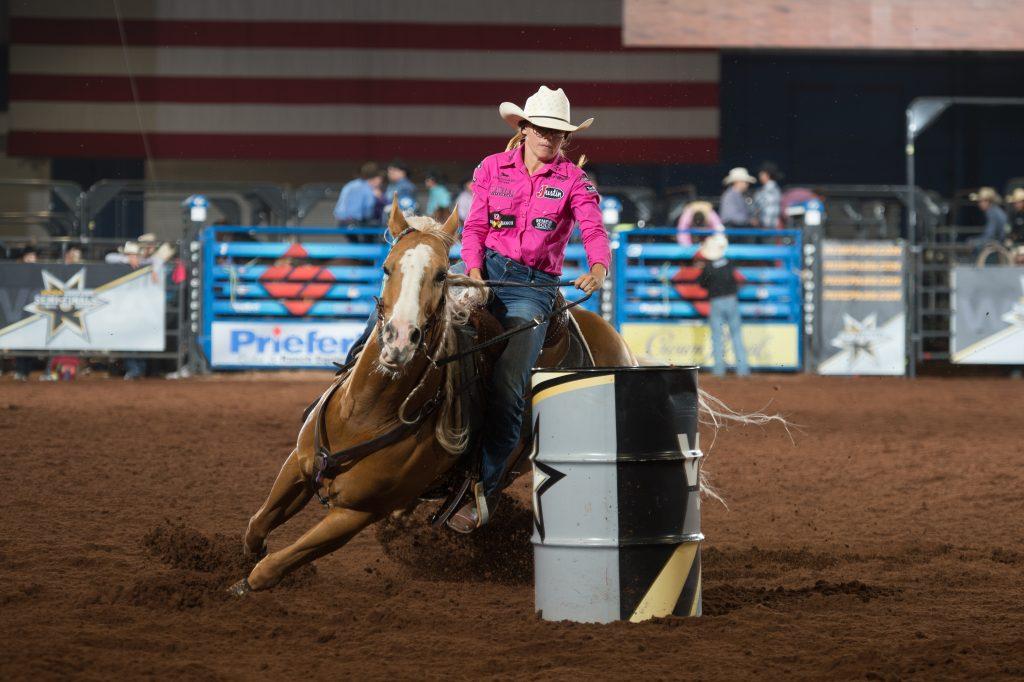 Ivy Conrado Saebens turning a barrel