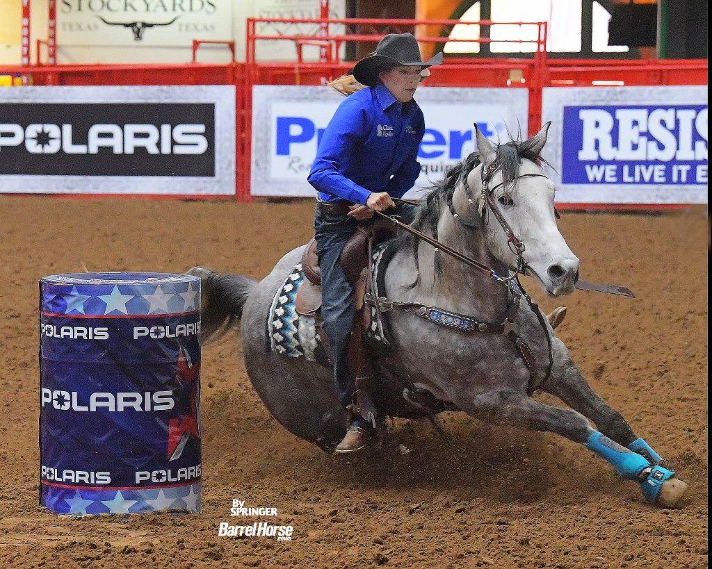 Kassie Mowry and Epic Guy turning the first barrel in The American Semifinals slack