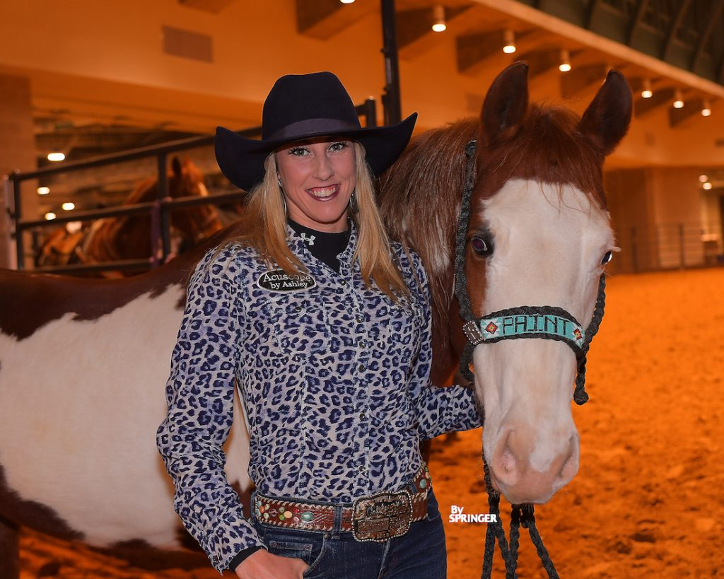 Brittney Barnett with Chicks Keen O Pocopoo at the 2020 Fort Worth Stock Show Rodeo