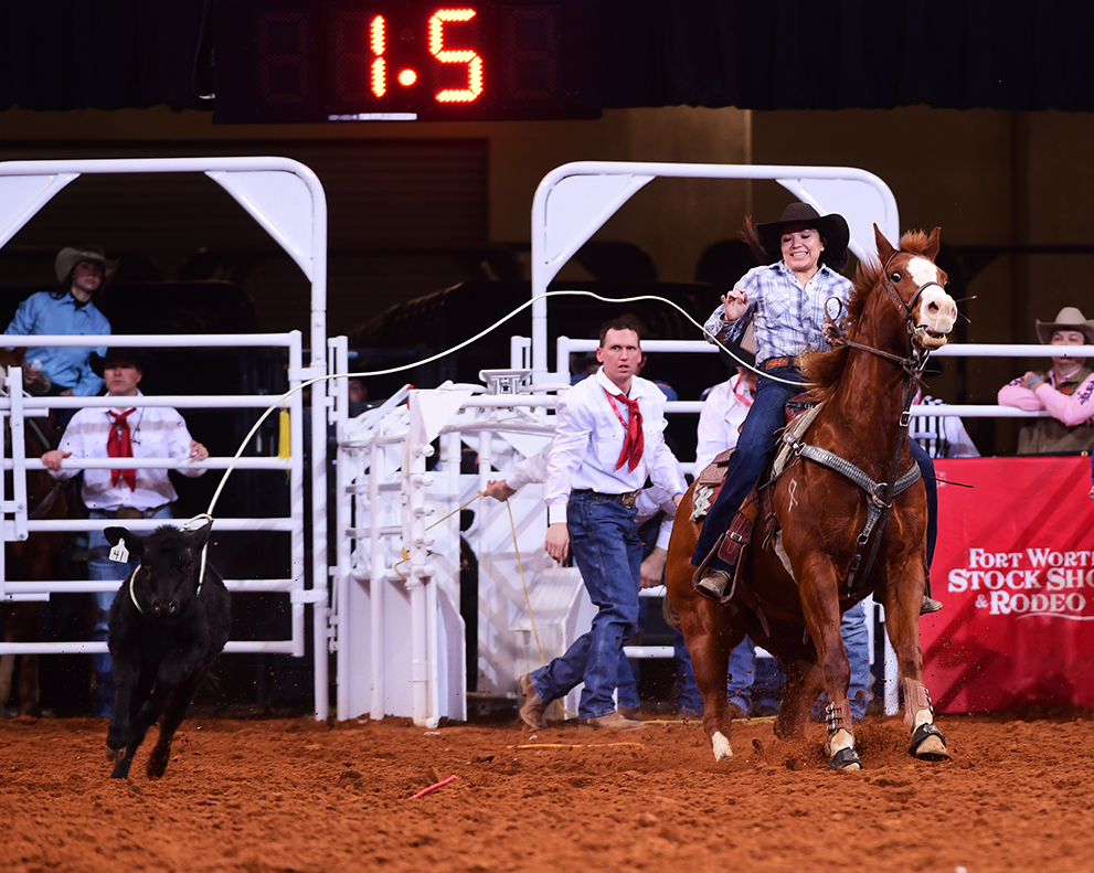 Cassie Bahe winning the breakaway roping at the Fort Worth Stock Show Rodeo