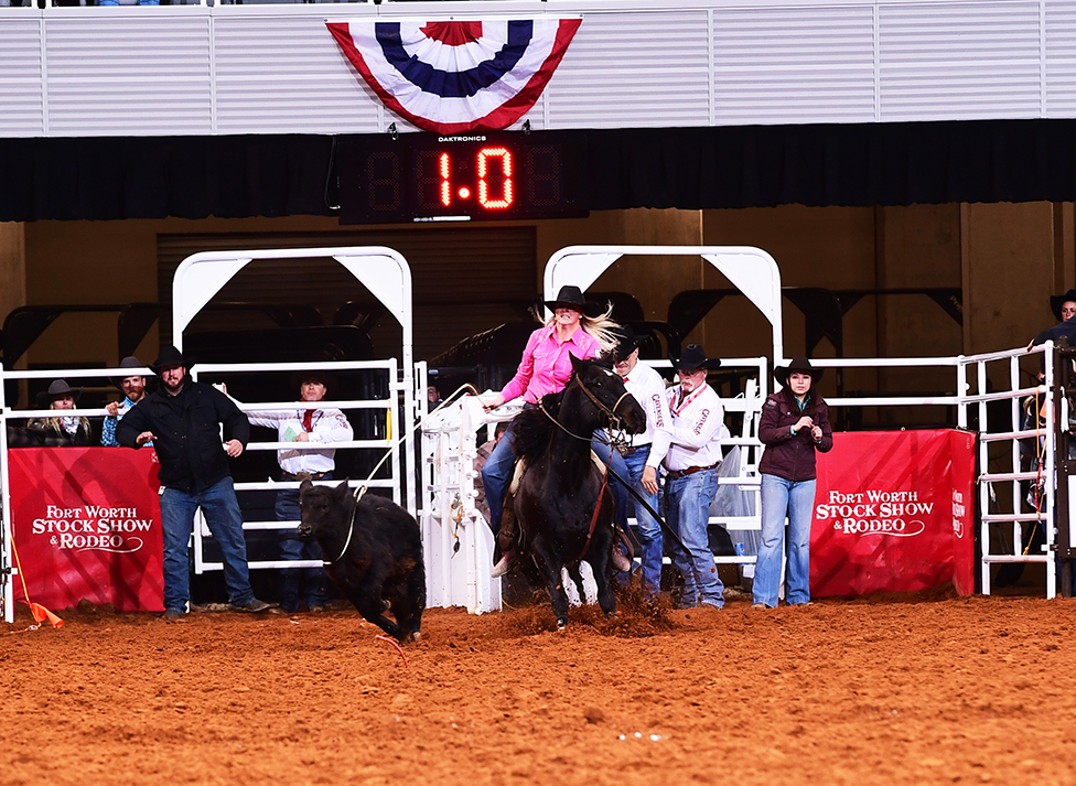 Jennifer Casey winning the Wild Card Round breakaway roping a the Fort Worth Stock Show Rodeo