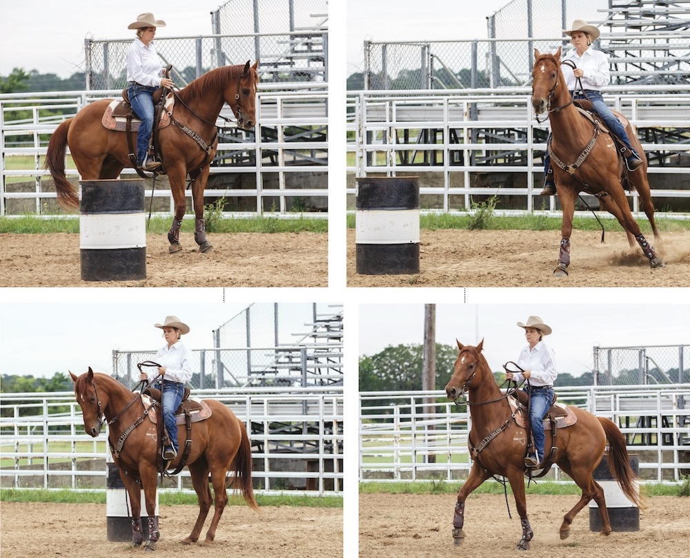Janet Staton demonstrating drill to Teach Your Horse to Keep Their Legs Underneath Them