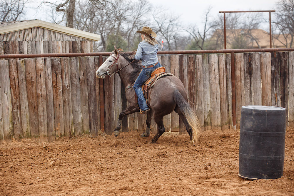 Danyelle Campbell lifting her inside rein to turn her horse