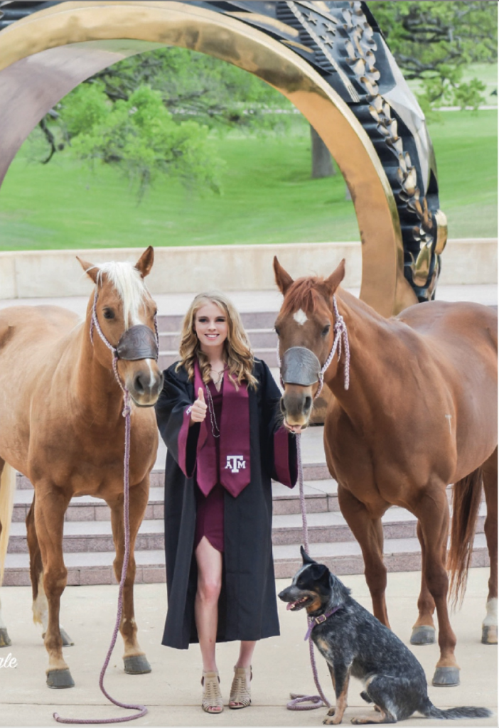 Jimmie Smith at A&M graduation with two horses