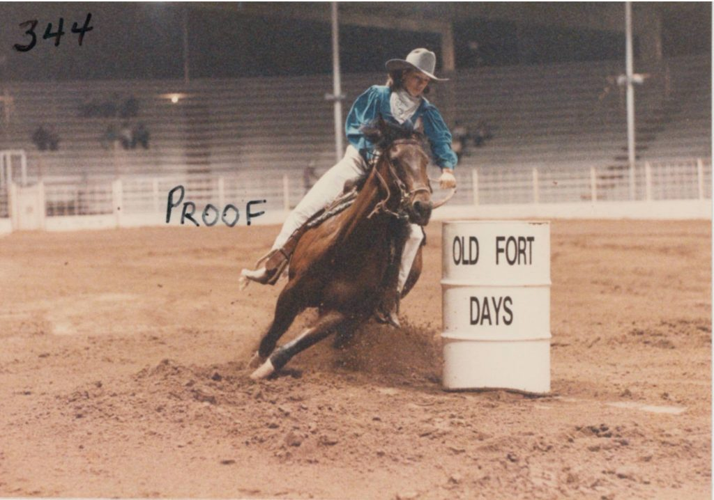 horse turning a barrel at 1984 old fort days futurity