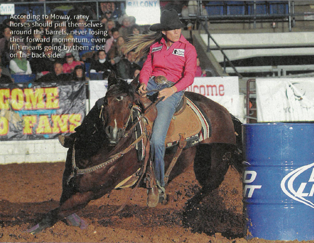 Kassie Mowry turning a barrel at a professional rodeo