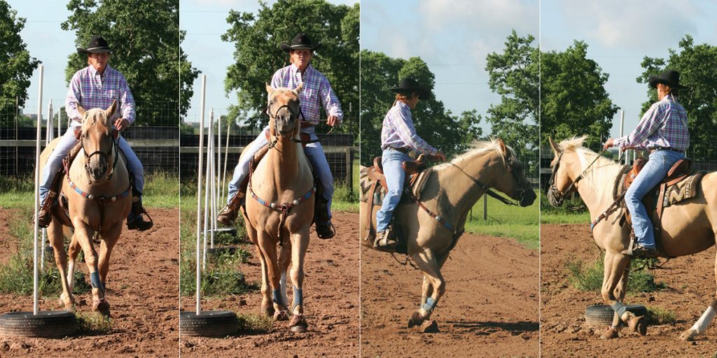 Marcheta Garrett showing how she would use a change in direction to correct a horse's movement.