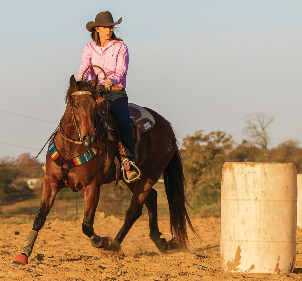 Colleen Stoner demonstrates the proper position around the barrel once you have the shoulders free.