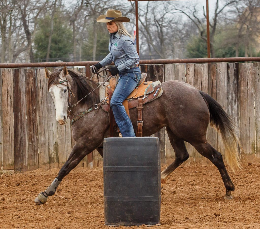 Maintain your horse's frame on the barrel pattern next.